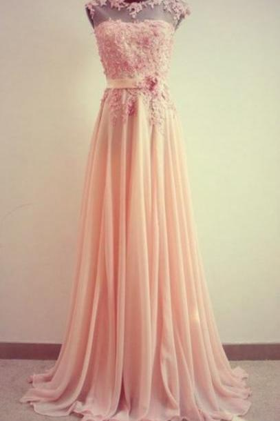 Pretty Pink Lace Floor Length Prom Dresses, Long Pink Birdesmaid Dresses, Lace Formal Dresses, Handmade Prom Dresses