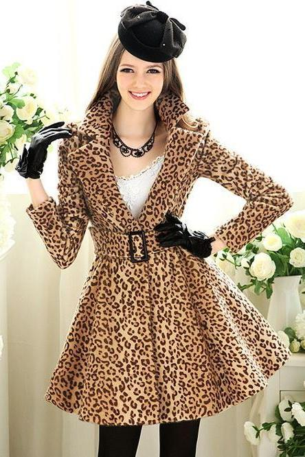 Leopard Skirt Coat For Princess Faux Fur Leopard Print Winter Coat