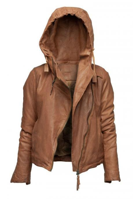 WOMENS HOODIE JACKET BROWN COLOR HOODED LEATHER JACKET