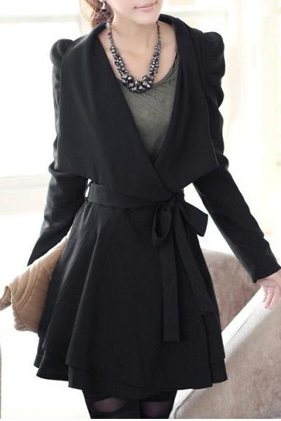 Stylish Turn-Down Neck Long Puff Sleeve Solid Color Lace-Up Trench Coat For Women