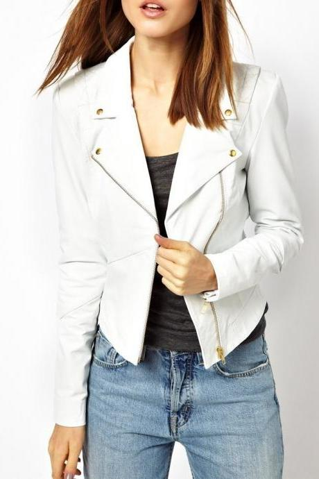 WOMENS BIKER LEATHER JACKET WHITE REAL LEATHER JACKET