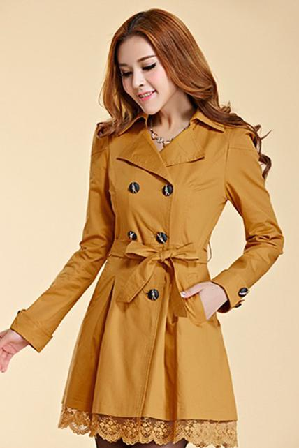 Fashion Golden Color Trench Winter Coat For Women-Women Yellow Coat Winter Lace Coats Polyester Winter Coats
