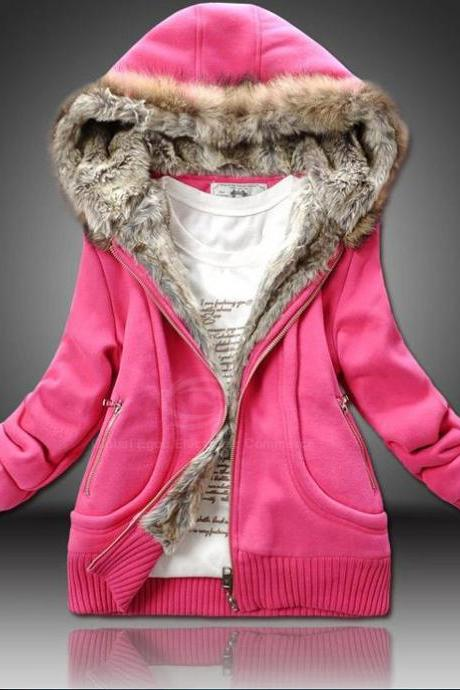 Plus Size Artificial Wool Hooded Zipper Women's Cotton Trend Coat