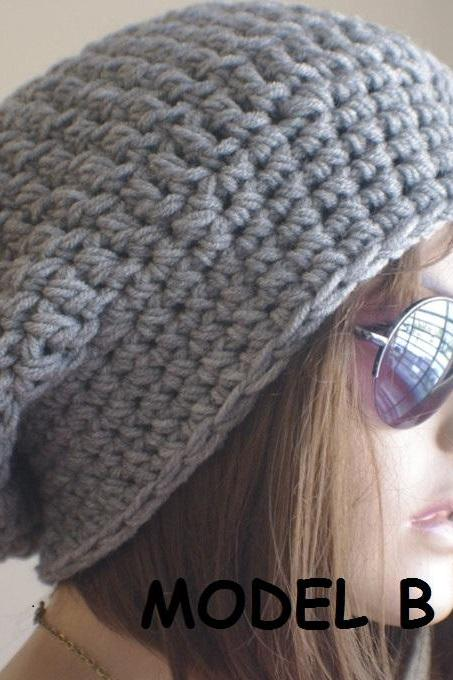 Womens hat - chunky knit Slouchy GRAY Beanie Slouch Hat Fall Winter Accessories Beanie Autumn Christmas Fashion