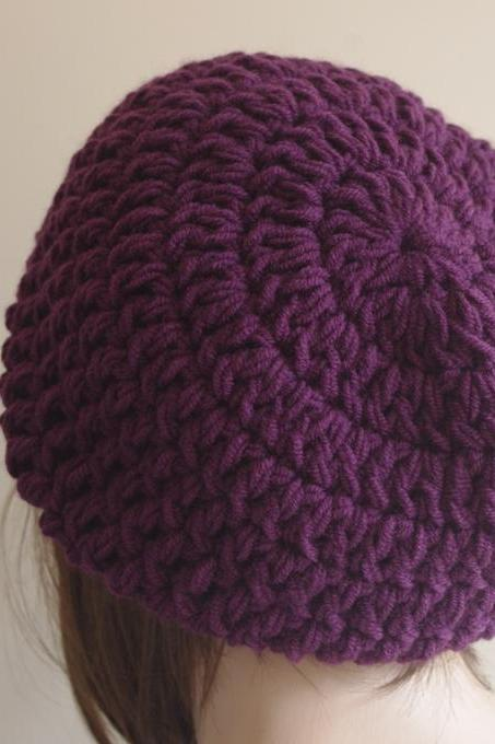 Womens hat - chunky knit Slouchy PURPLE Beanie Slouch Hat Fall Winter Accessories Beanie Autumn Christmas Fashion