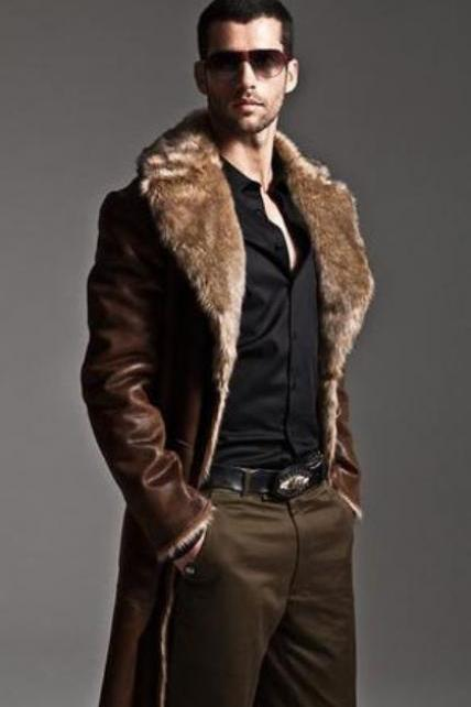 Brown Ultra Long Coat for Men Luxury Fur Lining Back to Back Black Jacket Coats