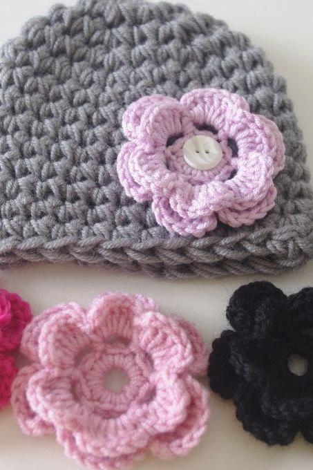 Baby girl Hat Baby Beanie with Interchangeable 5 Flowers