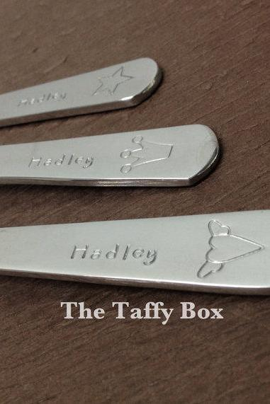 Toddler Silverware Set Hand Stamped
