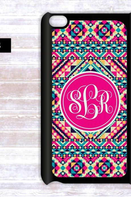 Personalized Ipod Touch case- Monogrammed Aztec Pattern Ipod Touch case