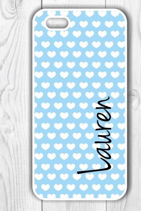 Personalized Heart Print Custom Iphone 5 Case - Monogrammed Iphone 4S case- Samsung Galaxy S3/S4 case