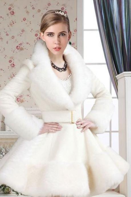 READY TO SHIP White Fur Coat with Fox Fur Collar White Trench Coats Pageant Dress Modeling Coats