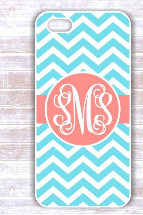 Personalized Mint Chevron iPhone 5 Custom Case - Monogrammed Iphone 4S case- Samsung Galaxy S3/S4 case