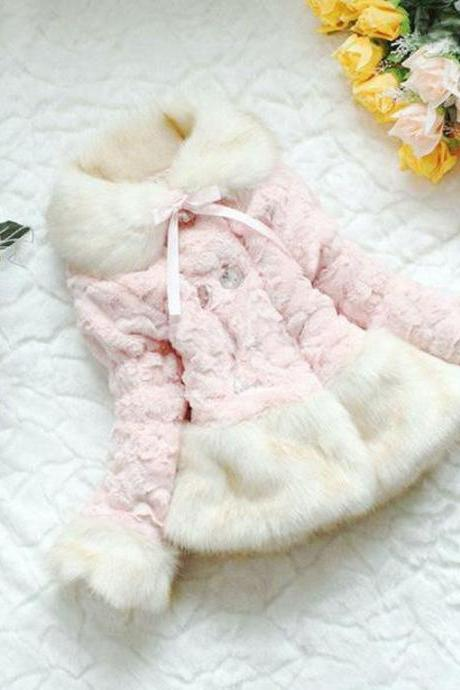 Pink Fur Coat Winter Coat for Girls with Pretty ButtonsSuper Soft Winter Jackets for 3T,4T,5T,6T Girls