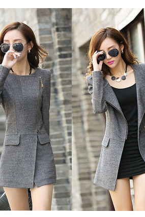 Europe and the United States in the long section of self-cultivation woolen coat large size women