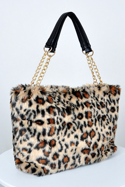 Leopard Print Faux Fur Handbag with Leather Linked Chains Shoulder Straps
