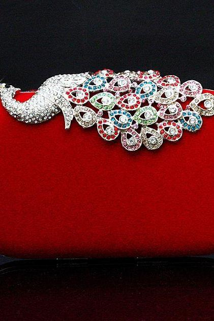 Red Alloy Diamond Peacock Wedding Banquet Red Clutch