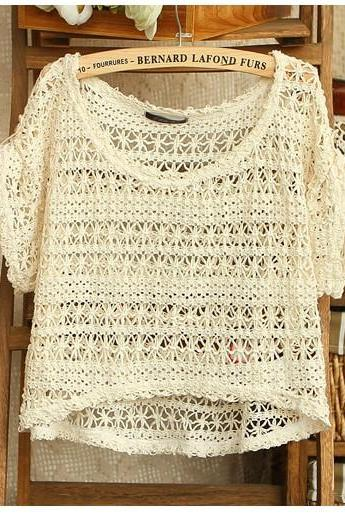 Kawaii Cute Short Sleeved Hollow Out Crochet T-shirt Tops