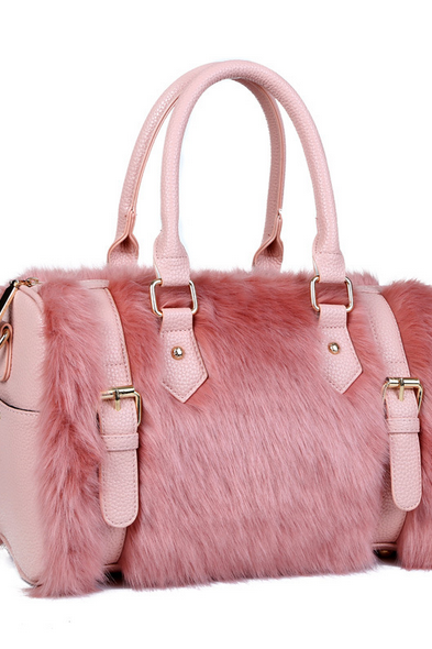 Fur Duffel Shoulder Bag