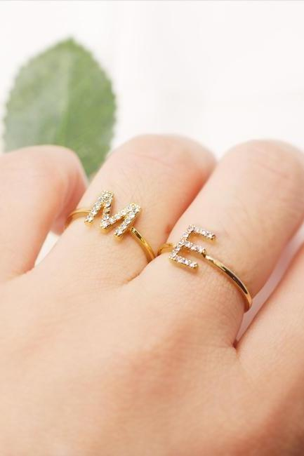 Crystal Initial Ring, Letter Ring, Number Ring, Monogram Ring, Personalized Ring