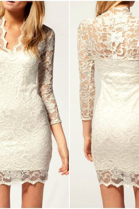 V Neck White Long Sleeve Lace Dress