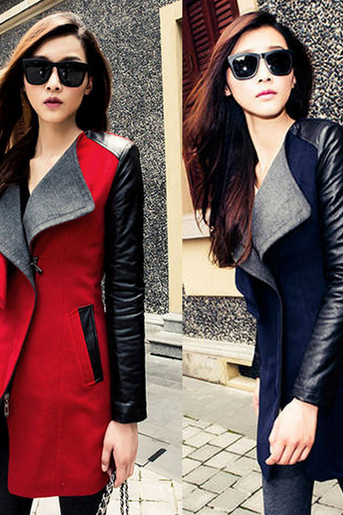 2014 Korean Hitz splicing hit color wool tweed coat women's autumn and winter in moral long coat