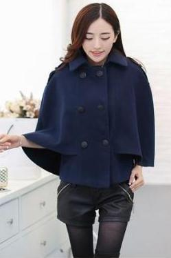 Navy Blue Poncho Coat Cloak Coat Cape Design Wool Jacket Double Breasted Outerwear Winter