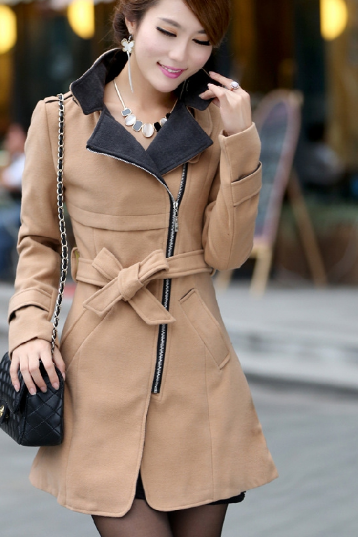 New Korean version of women in the long coat black label collar women's wool woollen overcoat