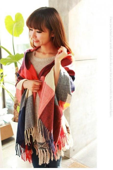 Warm winter plaid cotton woman scarf
