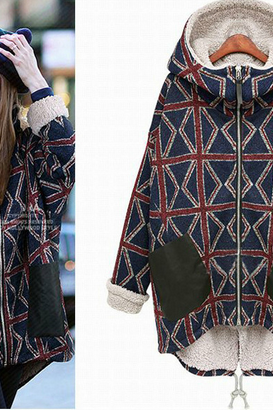 Europe and the new women's thickening in the long cotton padded clothes meters word patterns with cashmere Hoodie warm cotton padded jacket coat