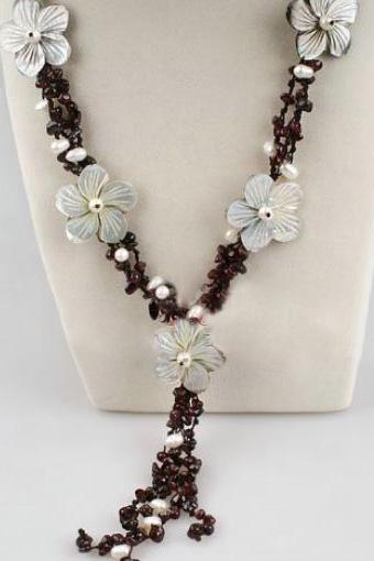 Brown Agate Stone with Freashwater Pearls Hawaiian Style Necklace
