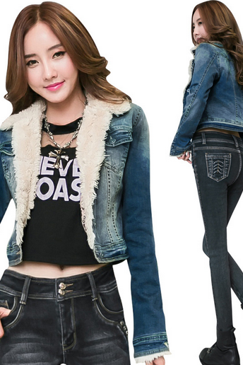 Europe and the United States women's Lapel single breasted with velvet thickened short paragraph Denim Jacket Women