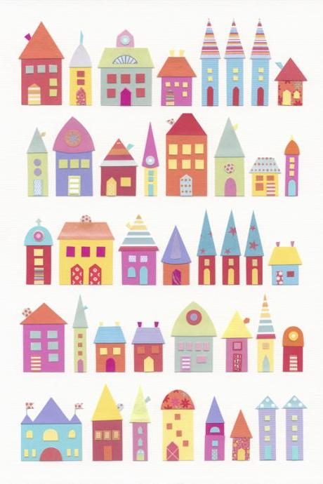 They Lived In A Paper Village - Art Print - 5 x 7