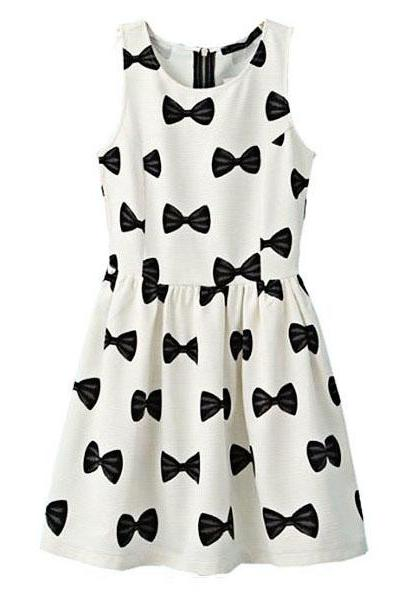 Women's Slim Fit Round Neck Bowknot Print Sleeveless Dress