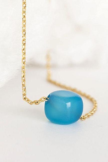 Blue Cube Drop Necklace, Opion on Gold or Silver Chain