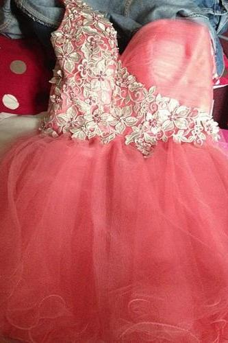 Super Cute Handmade Short Tulle One Shoulder Sweetheart Prom Dress with Lace, Short Prom Dresses 2015, Mini Prom Gown, Homecoming Dresses