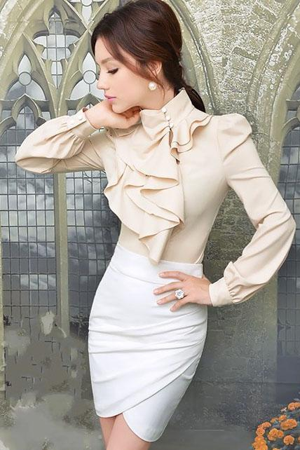 Elegant Ruffled Design Long Sleeve Chiffon Blouse