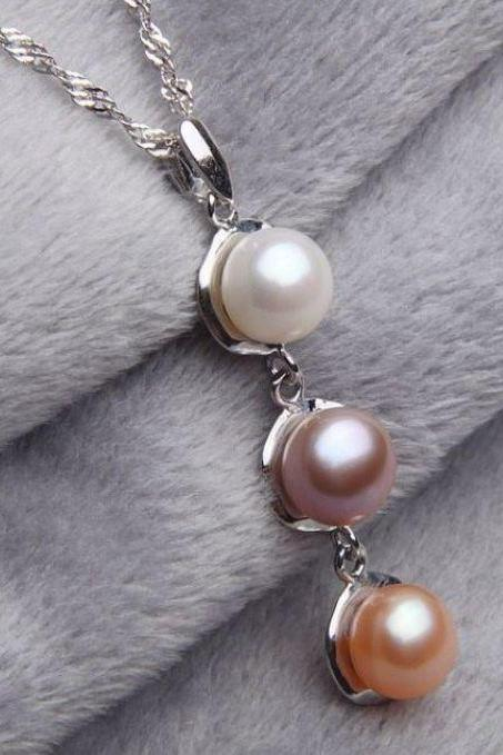 Genuine Pearl Necklaces 3 Stones Real Freshwater Pearls of the Ocean
