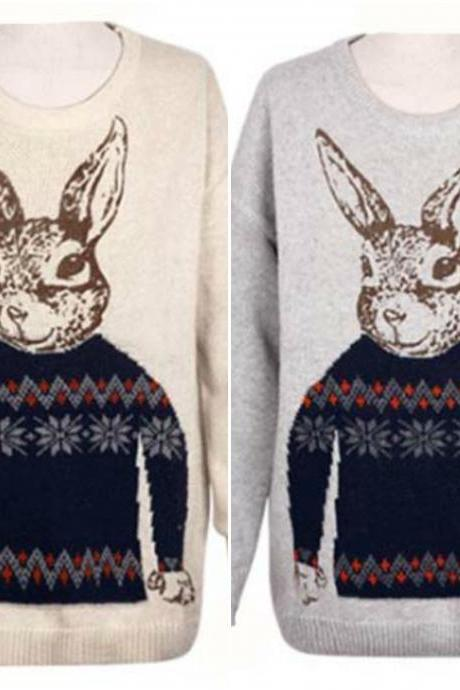 Cute Vintage Bunny Print Sweater
