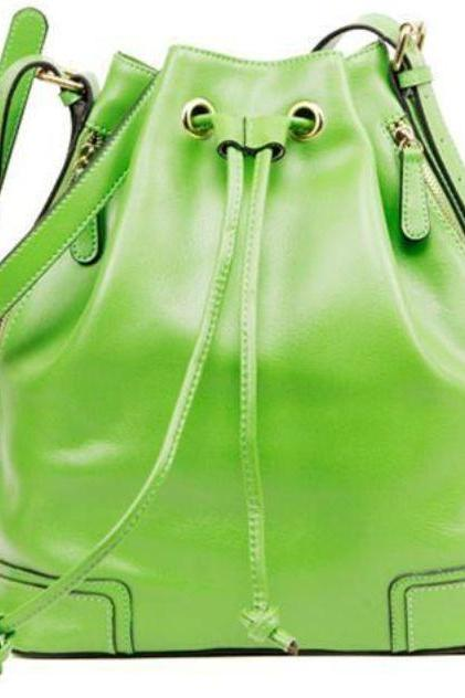 Bucket Bag Fashion Shoulder Bags with Tassels Green Draw String Leather Handbags