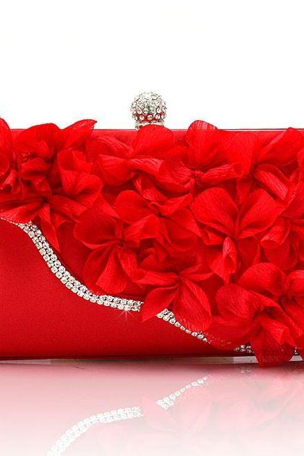 Red Evening Bridal Purse Shoulder Bags