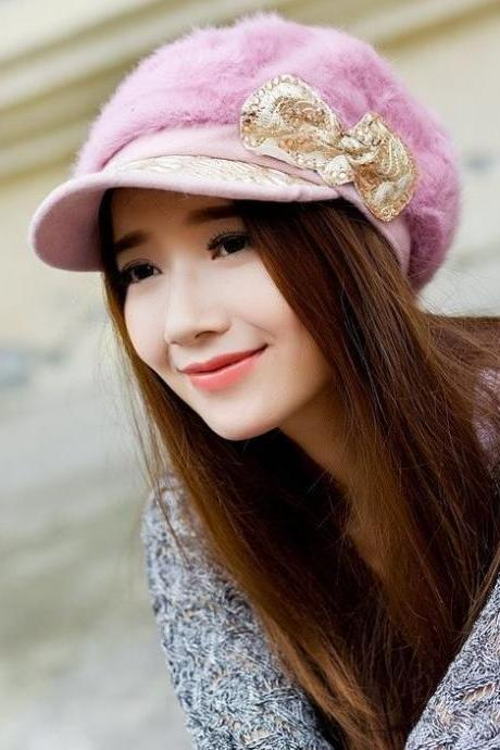 Purplish Pink Newsboys Hat with Cute Bow Wool Warm Soft with Rabbit Hair