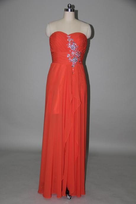 Handmade Floor Length Slipt Red Beadings Prom Dresses, Made to Order Red Prom Dresses, Red Prom Dresses