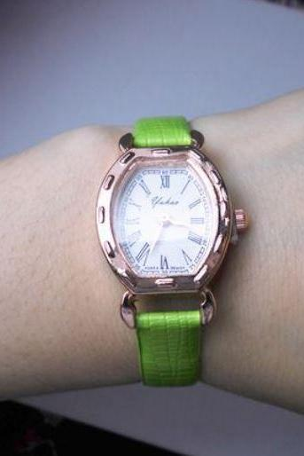 Green Watch with Skinny Pretty Leather Wrist Band