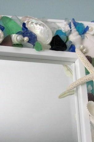 Seashell Mirrors for Beach Decor - Nautical Shell Mirror w Starfish & Sea Glass in Your Colors