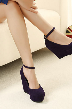 Cute 2 Suede Purple Wedges Black Wedges Women'S Ankle Strap High Plarform Wedges Heel Shoes