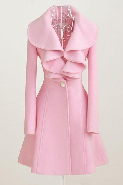 Classy Pink Ruffled Collar Design Winter Coat