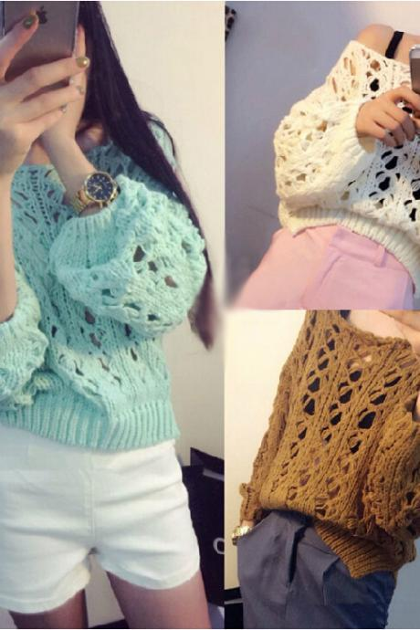 Hollow Round Neck Long-Sleeved Sweater
