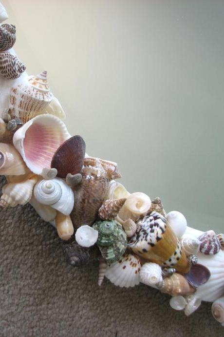 Beach Decor Seashell Mirror - Nautical Decor Shell Mirror w Starfish in Natural, Oval