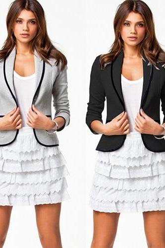 Fashion Contrast Color Turn-Down Collar Long Sleeve Blazer