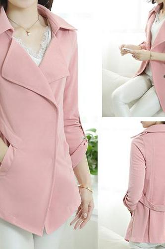 Fashion Elegant Pure Color Winfbreaker Suit Coat